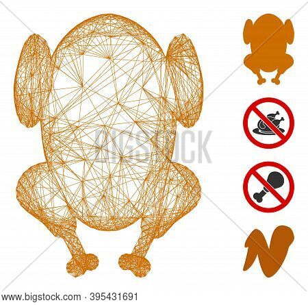 Vector Wire Frame Fried Chicken. Geometric Wire Frame Flat Net Made From Fried Chicken Icon, Designe