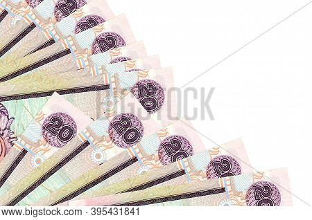20 Sri Lankan Rupees Bills Lies Isolated On White Background With Copy Space Stacked In Fan Close Up