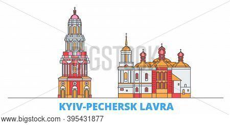 Ukraine, Kyiv, Pechersk Lavra Line Cityscape, Flat Vector. Travel City Landmark, Oultine Illustratio