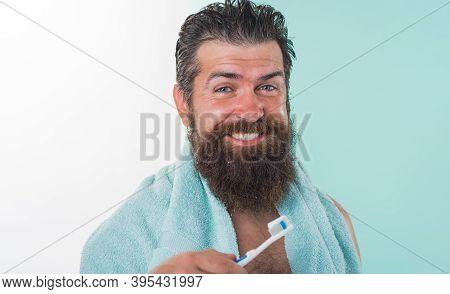 Man With Toothbrush. Morning Routine. Dental Care. Toothbrush. Bearded Man With Toothbrush. Brushing