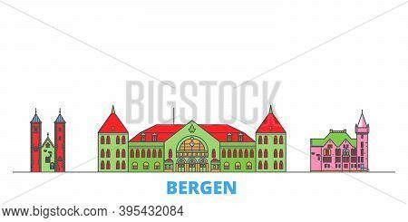 Norway, Bergen Line Cityscape, Flat Vector. Travel City Landmark, Oultine Illustration, Line World I