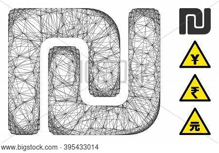 Vector Wire Frame Israeli Shekel. Geometric Wire Frame 2d Network Generated With Israeli Shekel Icon