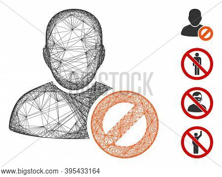 Vector Wire Frame User Forbidden. Geometric Wire Frame Flat Network Made From User Forbidden Icon, D