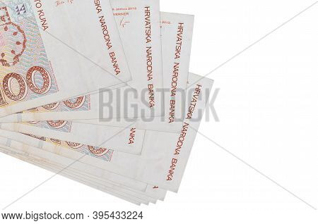 100 Croatian Kuna Bills Lies In Small Bunch Or Pack Isolated On White. Mockup With Copy Space. Busin