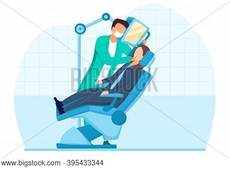 Medical Insurance Concept. Routine Dental Checkup. Dental Procedure With Patient, Dentist Checking T