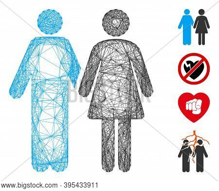 Vector Wire Frame Married Couple. Geometric Wire Carcass 2d Net Made From Married Couple Icon, Desig