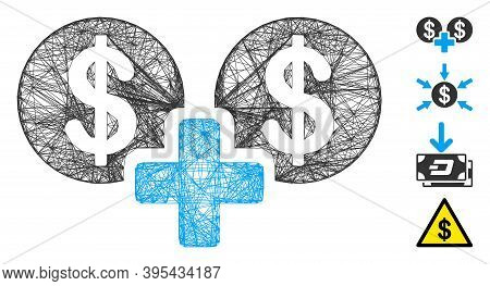 Vector Wire Frame Sum Money. Geometric Wire Carcass Flat Network Generated With Sum Money Icon, Desi