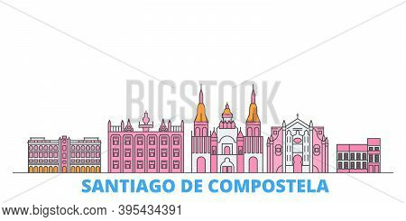 Spain, Santiago De Compostela Line Cityscape, Flat Vector. Travel City Landmark, Oultine Illustratio