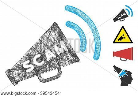 Vector Wire Frame Scam Alert Megaphone. Geometric Wire Frame Flat Net Based On Scam Alert Megaphone