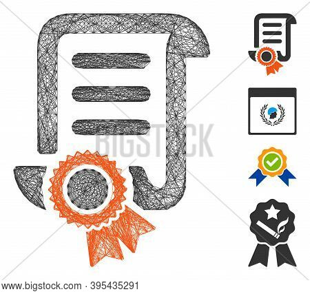 Vector Net Certified Scroll Document. Geometric Wire Carcass 2d Net Generated With Certified Scroll