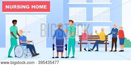 Nursing Home Concept. Group Of Elderly People Walking Near Nursing Home Building. Senior People Meet