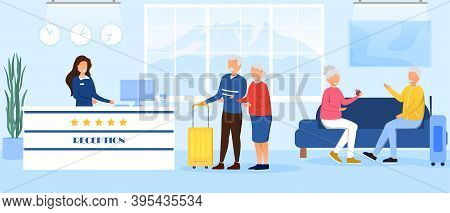 Old People Accommodation In Hotel. Hotel Booking Concept. Service On Vacation. Old People Came To Re