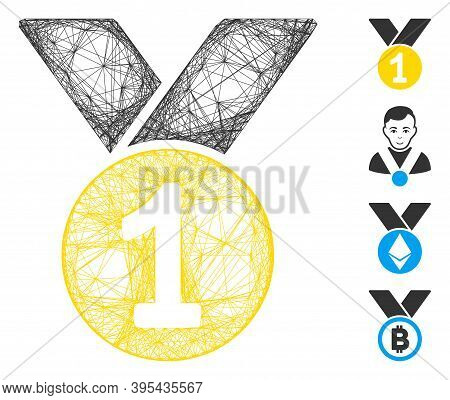 Vector Wire Frame Gold Medal. Geometric Wire Frame Flat Network Made From Gold Medal Icon, Designed