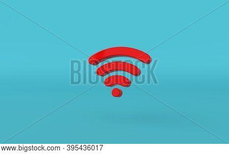 Wi-fi Icon 3d Rendering. Red Wi-fi Symbol On Blue Background. 3d Rss Symbol For Website, Social Medi