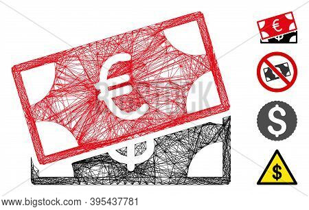 Vector Wire Frame Banknotes. Geometric Wire Frame Flat Net Made From Banknotes Icon, Designed From C