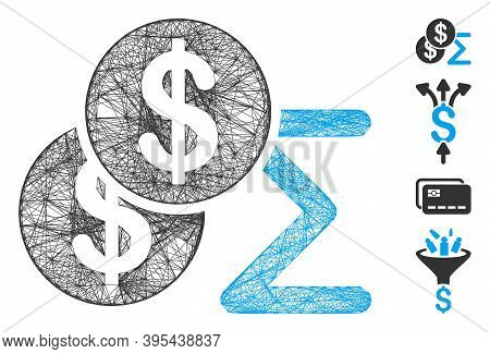 Vector Wire Frame Money Summary. Geometric Wire Carcass 2d Net Generated With Money Summary Icon, De