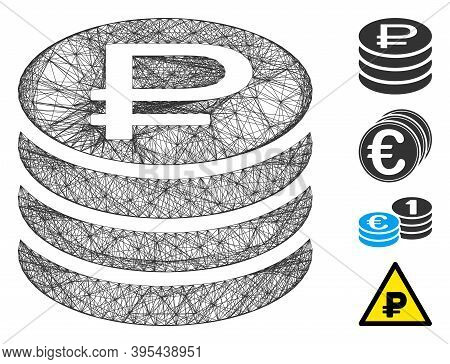 Vector Wire Frame Rouble Coins Stack. Geometric Linear Frame 2d Net Generated With Rouble Coins Stac