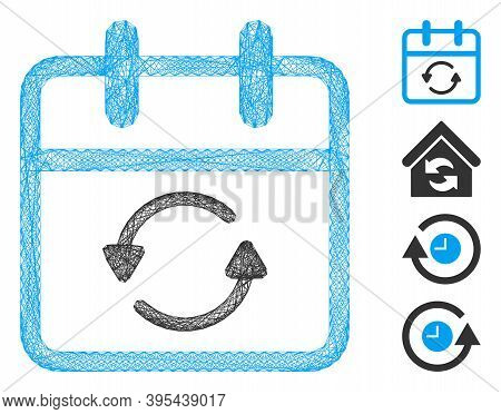 Vector Net Update Day. Geometric Wire Frame Flat Net Generated With Update Day Icon, Designed With I