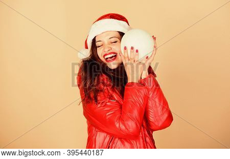 Santa Girl. Fashion Trend. Winter Season Of Contrasts. Accessory For Celebration. Christmas Mood. Wi