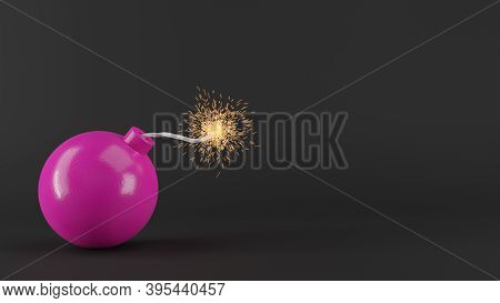 Pink Round Bomb With Sparkling Wick On Black Background. Creative Background. 3d Rendered Image.