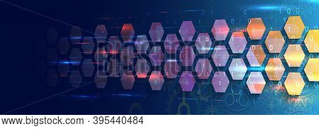 Abstract Perspective Wide Technology Background With Hexagons And Gear Wheels. Hi-tech Modern Vector