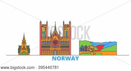 Norway Line Cityscape, Flat Vector. Travel City Landmark, Oultine Illustration, Line World Icons