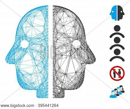 Vector Network Dual Face. Geometric Wire Carcass 2d Network Made From Dual Face Icon, Designed From