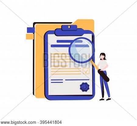 Woman Holding Magnifying Glass And Examining Document. Concept Of Business Analysis, Audit, Professi