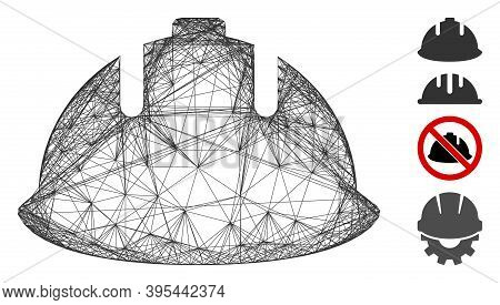 Vector Network Builder Helmet. Geometric Wire Frame 2d Network Generated With Builder Helmet Icon, D