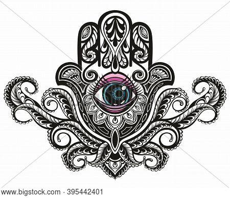 Ornate Amulet Hamsa Hand Of Fatima. Ethnic Amulet