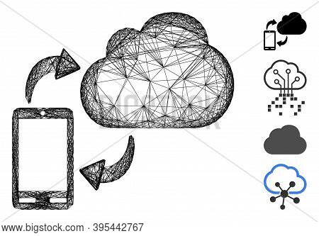 Vector Wire Frame Sync Phone-cloud. Geometric Hatched Frame 2d Net Made From Sync Phone-cloud Icon,