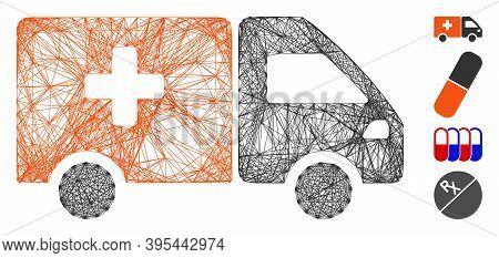 Vector Wire Frame Drug Shipment. Geometric Wire Frame Flat Net Generated With Drug Shipment Icon, De