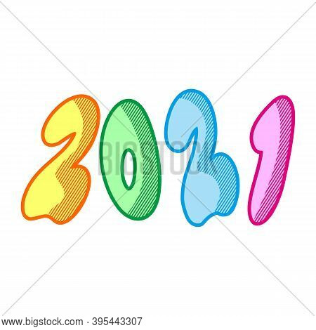 New Year 2021. Happy New Year 2021 Vector. Number 2021 In The Modern Concept. 2021 Text. Number 2021