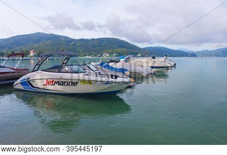 Klagenfurt, Austria- August 26, 2020: Boats On The Alpine Lake Worthersee, Famous Tourist Attraction