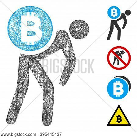 Vector Network Bitcoin Courier Man. Geometric Wire Frame 2d Network Generated With Bitcoin Courier M