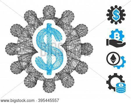 Vector Network Financial Options Gear. Geometric Wire Carcass Flat Network Generated With Financial