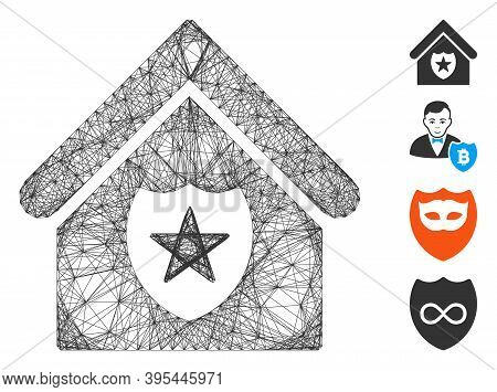 Vector Wire Frame Realty Protection. Geometric Wire Frame Flat Net Based On Realty Protection Icon,