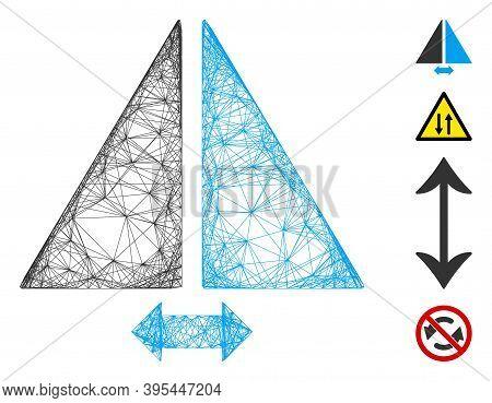 Vector Wire Frame Flip Horizontally. Geometric Wire Frame Flat Net Generated With Flip Horizontally