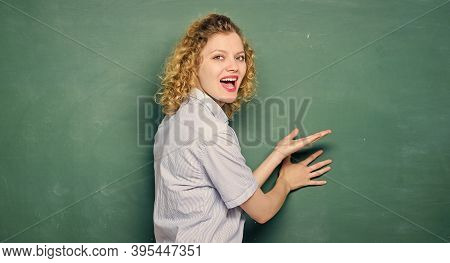 Good Teacher Master Of Simplification. Teaching Could Be More Fun. Woman Teacher In Front Of Chalkbo