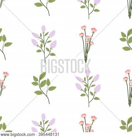 Floral Seamless Pattern With Green Leaves, Lilac Branch, Small Rose Bouquet. Textile, Fabric Ornamen