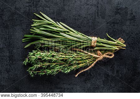 Fresh Green Rosemary, Parsley And Dill On The Table. Top View.indispensable Source Of Vitamins A, C,