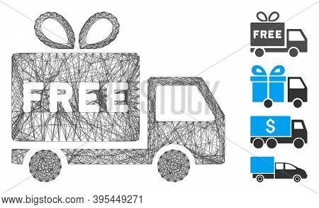 Vector Network Free Shipment. Geometric Linear Carcass 2d Network Made From Free Shipment Icon, Desi