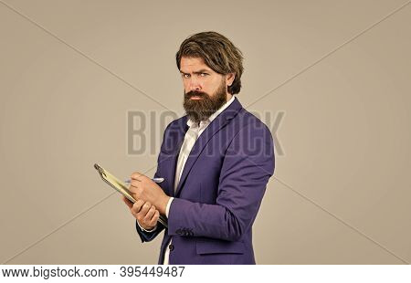 Bearded Man Making Notes. Supervising And Controlling. Project Curator. Business People Concept. Bus