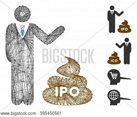 Vector Network Businessman Show Ipo Shit. Geometric Linear Carcass 2d Network Generated With Busines