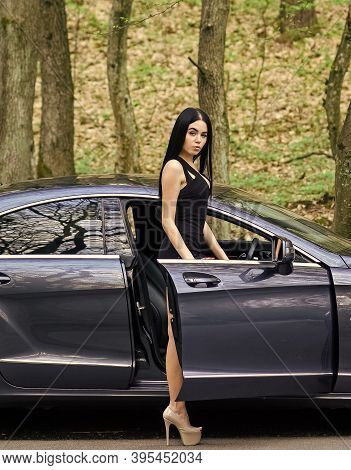 Fashionable And Functional. Sexy Woman Sit In Fashionable Car. Transport And Vehicle. Gorgeous And F