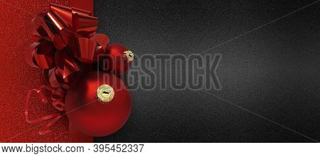 Gift And Greeting Card Wishes Merry Christmas Background With Red Ribbon Bow And Balls On Red And Bl