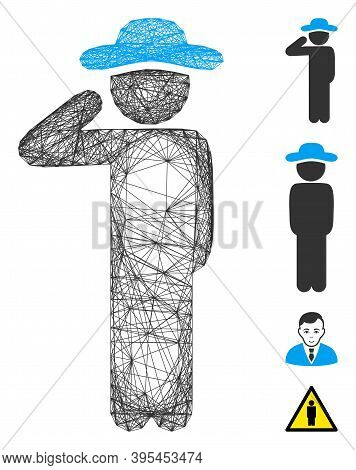 Vector Wire Frame Gentleman Salute. Geometric Wire Frame Flat Network Generated With Gentleman Salut