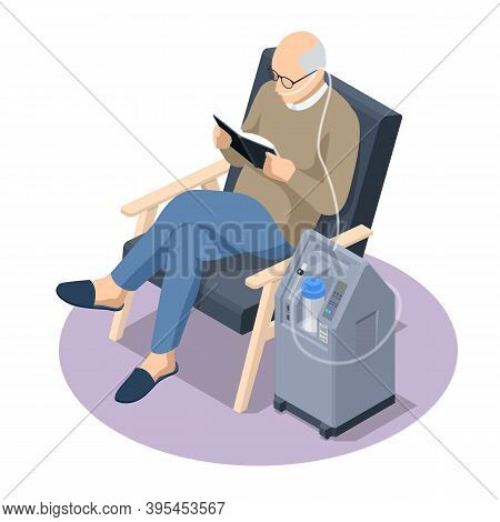 Isometric Home Medical Oxygen Concentrator. Concept Of Healthcare, Life, Pensioner. Senior Man With