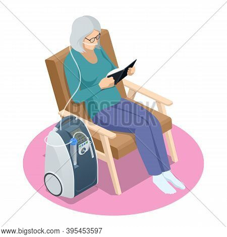 Isometric Home Medical Oxygen Concentrator. Concept Of Healthcare, Life, Pensioner. Senior Woman Wit