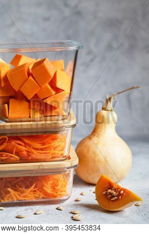 Glass Boxes With Fresh Raw Orange Vegetables.